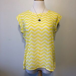CHARMING CHARLIE-Yellow & White Striped Top-Size M